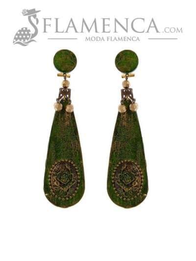 Pendiente de flamenca verde oliva envejecido
