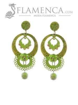 Pendiente de flamenca verde pistacho