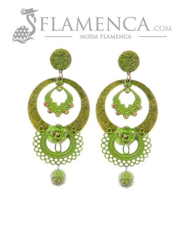 Pistachio green flamenco earring