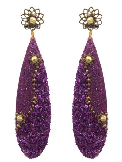 Purple flamenco earring with mother of pearl powder