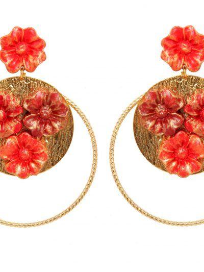 Pendiente de porcelana en tonos rojo degradé con reflejos dorados