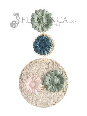 Porcelain earring in antique green and beige shades