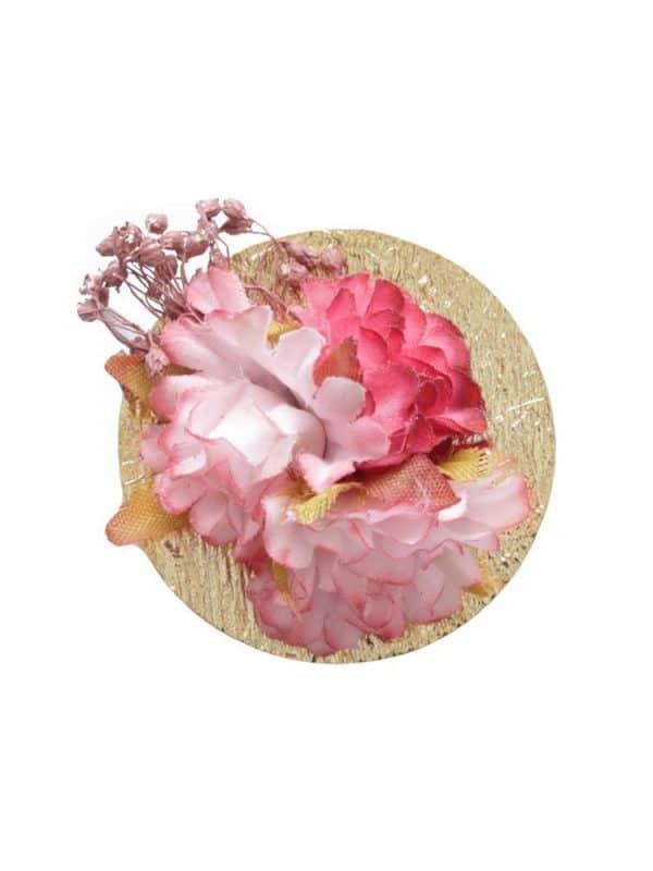 Broche de flamenca con flores burdeos y rosa