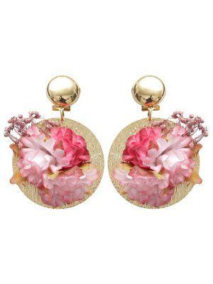 Pendientes de flamenca con flores burdeos y rosa