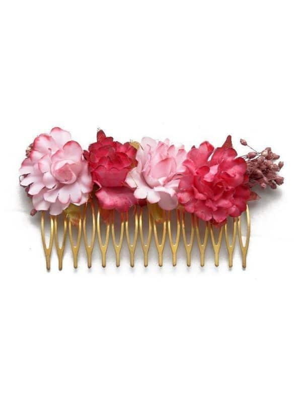 Peinecillo de flamenca con flores burdeos y rosa