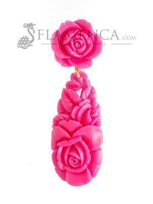 Raspberry resin flamenco earrings