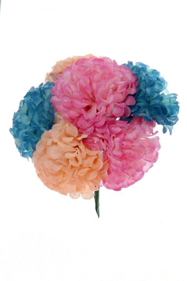 Ramillete de flamenca beige, rosa y azul ducado