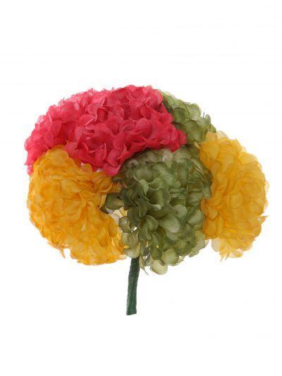 Ramillete de flamenca en tonos albero, verdoso y buganvilla