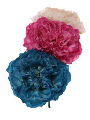 Ramillete de flamenca en tonos beige, buganvilla y azul