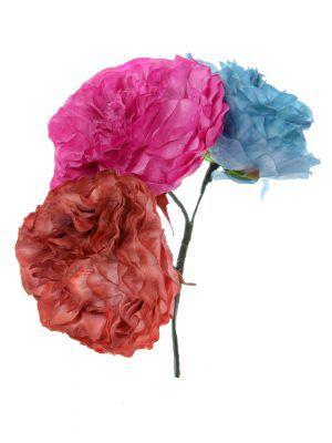 Ramillete de flamenca en tonos ducado, buganvilla y maquillaje