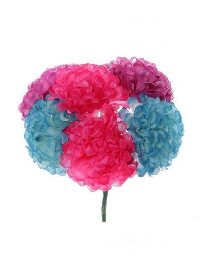 Ramillete de flamenca en tonos morados y azul