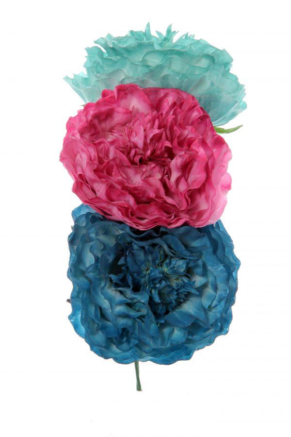 Ramillete de flamenca en tonos verde agua, buganvilla y azul