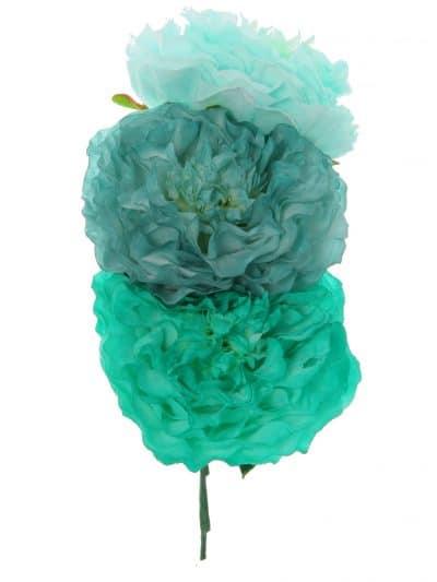 Ramillete de flamenca en tonos verdes degradé