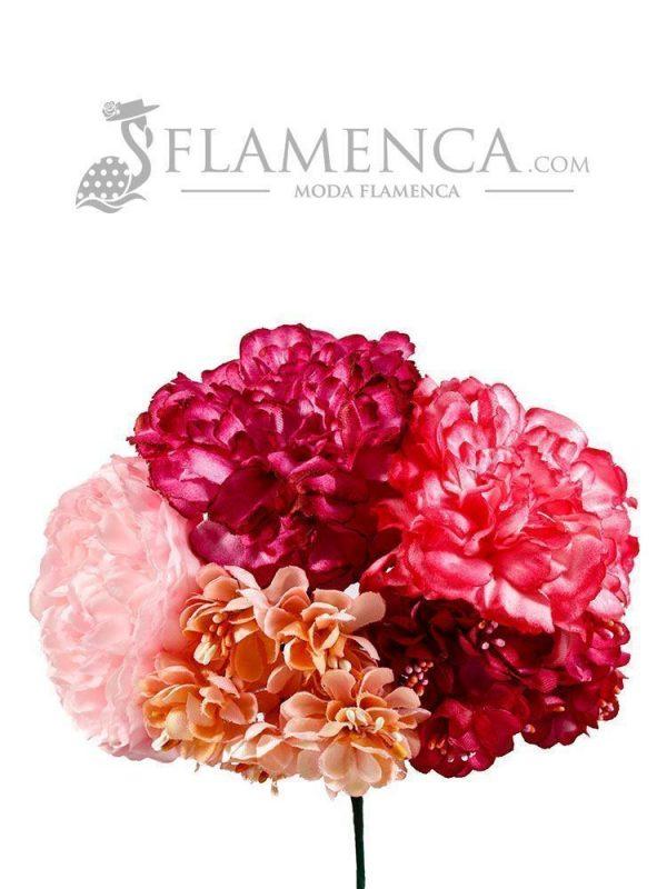 RAMILLETE DE FLAMENCA FUCSIA Y ROSA