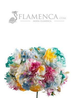 RAMILLETE DE FLAMENCA MULTICOLOR DEGRADADO