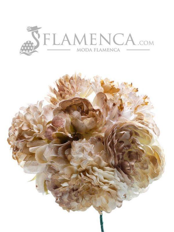 Ramillete de flamenca tonos beige con oro