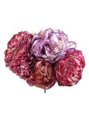Ramillete de flamenca tonos buganvillas y malvas