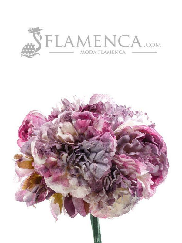Ramillete de flamenca tonos malva