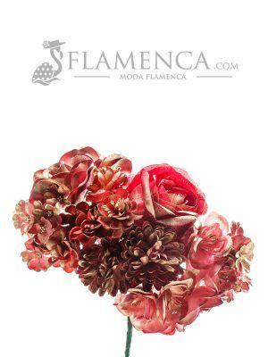 Ramillete de flamenca tonos rojos y burdeos con reflejos oro