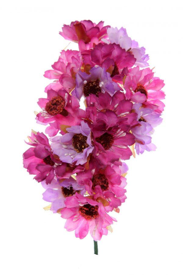 Ramillete de flores de flamenca tonos malva y buganvilla