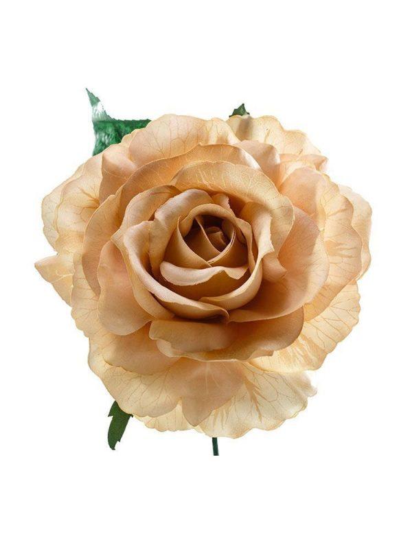 Flor de flamenca estilo rosa, de tamaño mediano, con un diámetro aproximado de 13 cms y color beige. Elaborada artesanalmente en Sevilla.