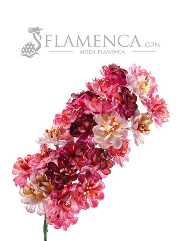 Tiara de flamenca con tonos buganvilla degradados