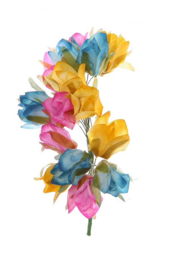 Tiara de flamenca en tonos albero, azul y malva
