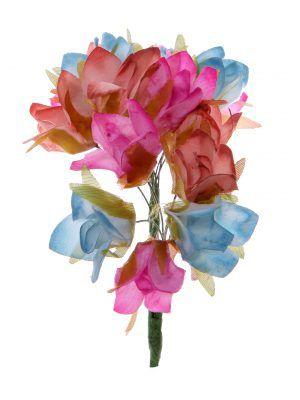 Tiara de flamenca en tonos azul azafata, buganvilla claro y maquillaje