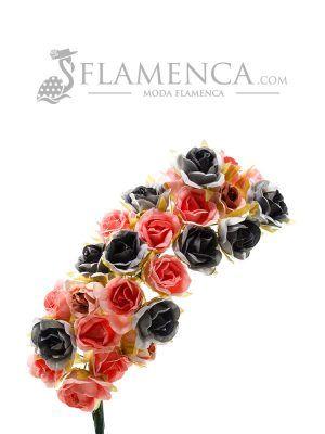 Tiara de flamenca en tonos azul ducado y rosa