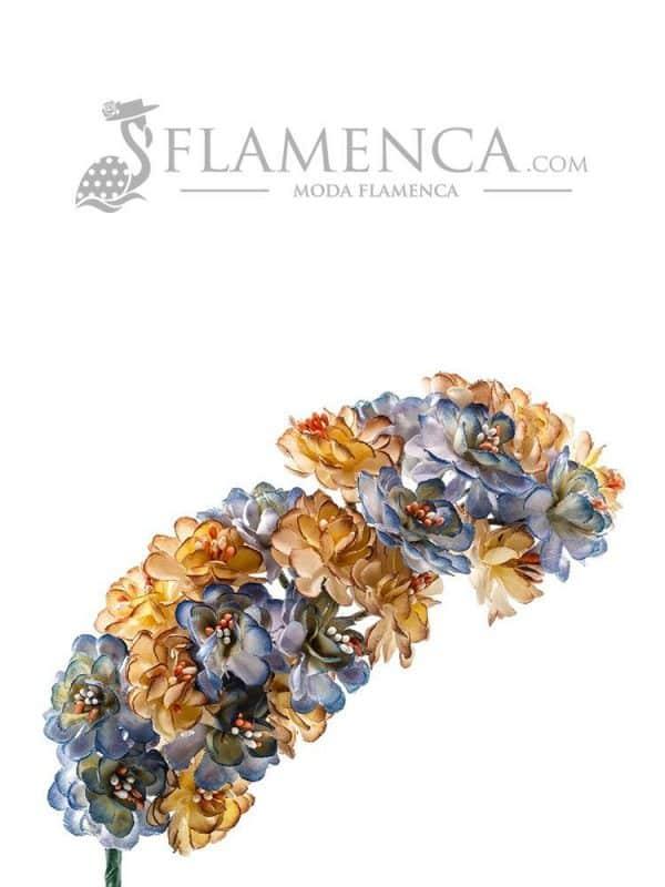 Flamenco tiara in antique blue and beige tones
