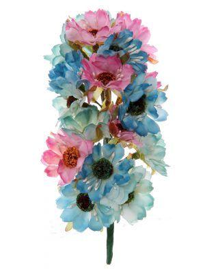 Tiara de flamenca en tonos azules y rosa