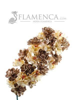 Tiara de flamenca en tonos beige y oro