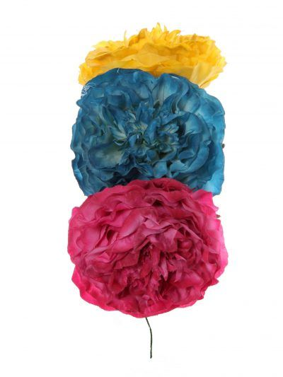 Tiara de flamenca en tonos buganvilla, azul zafiro y albero