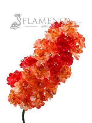 Tiara de flamenca en tonos corales degradados