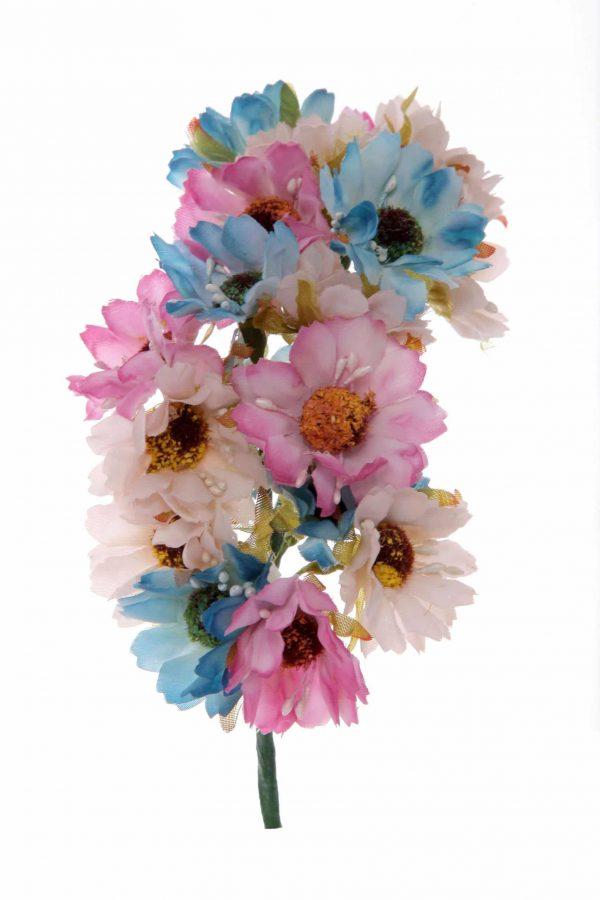 Tiara de flamenca en tonos crema, azul y malva
