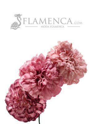 Tiara de flamenca en tonos malva antiguos degradados