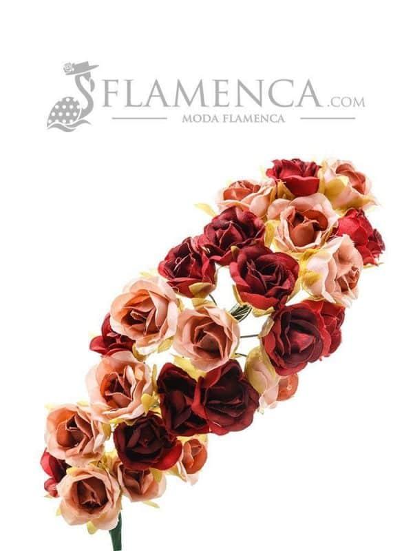 Tiara de flamenca en tonos maquillaje y burdeos