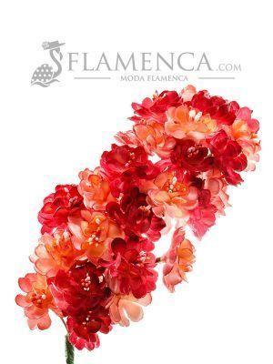 Tiara de flamenca en tonos maquillajes y burdeos degradados