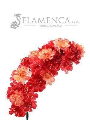 Tiara de flamenca en tonos rojos y corales degradados