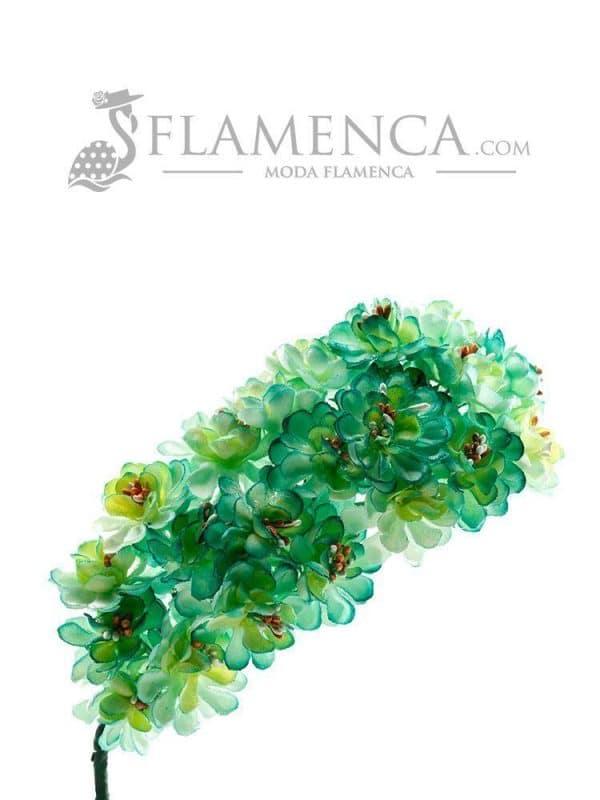 Tiara de flamenca en tonos verdes agua degradados