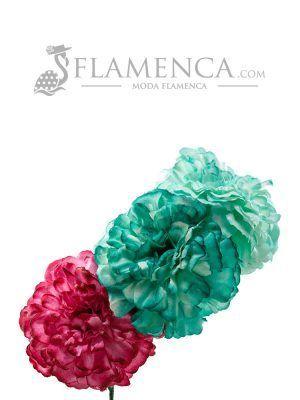 Tiara de flamenca en tonos verdes agua y frambuesa