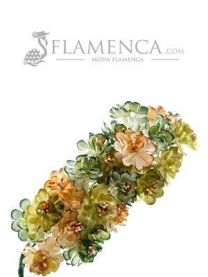 Tiara de flamenca en tonos verdes antiguos degradados
